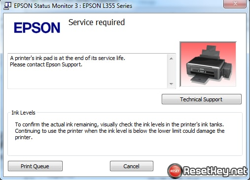 Reset Epson L355 printer with wic reset key free